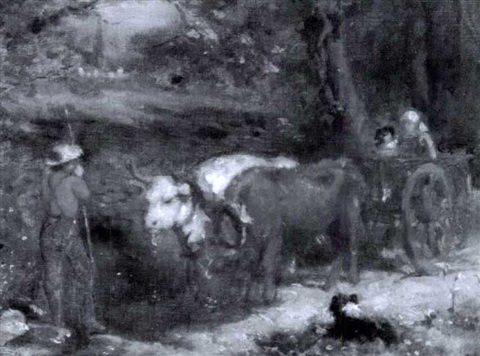 farmer with children in an oxen drawn cart by seymour joseph guy