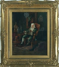 interior with a man in a gilded armchair by nikolaus (miklos) santho