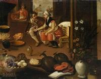 kücheninterieur mit einem mann und einer frau an einer kochstelle by pieter balten