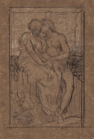 study of two seated classical figures by lord frederick leighton