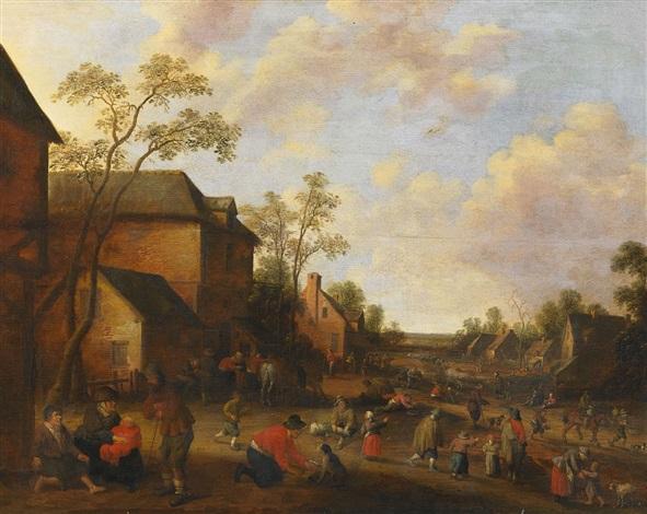 holländisches dorf mit zahlreichen personen by joost cornelisz droochsloot