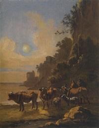 hirten an einer furt (+ die flucht nach ägypten; pair) by adam de colonia