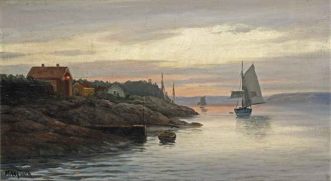 setting sail from the fjords at sunset by zackarais martin aagaard