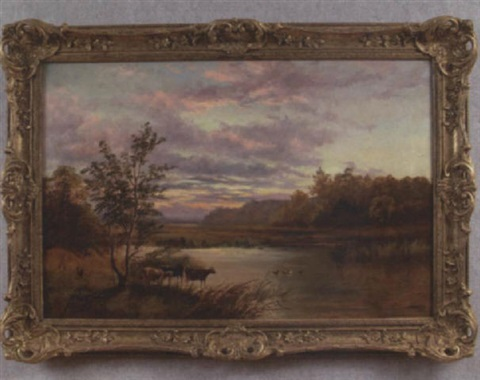 landscape at sunset with cattle and ducks by s. hooper