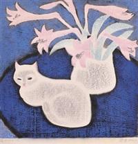 粉红色的花 木刻水印 by zheng shuang