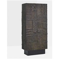 sculptured metal cabinet (pe 43) by paul evans