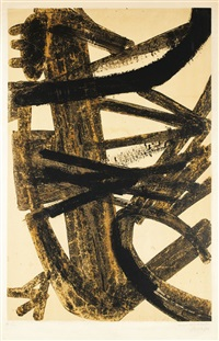 composition en brun et jaune by pierre soulages