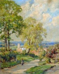 springtime, village of well, vale of flowbray by owen bowen