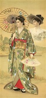 europäerin in japanischem kimono mit fächer und japanischem sonnenschirm vor einer flusslandschaft by japanese school (19)
