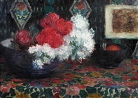 still life of roses and white lilac in a bowl by louise coupé
