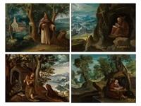 darstellungen von eremiten-heiligen (set of 4) by paul bril