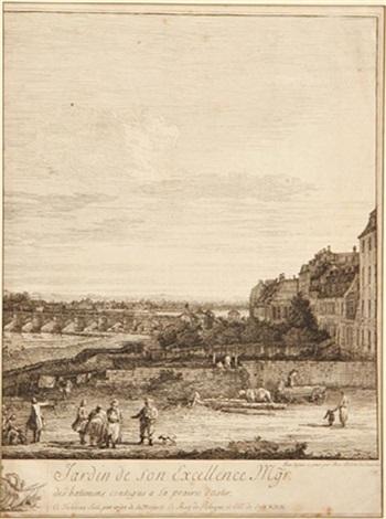 perspective de la galerie es du jardin de son excellence ggr le compte de bruhl by bernardo bellotto