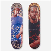alios itzhak and mahmud abu razak skateboard decks (2 works) by kehinde wiley