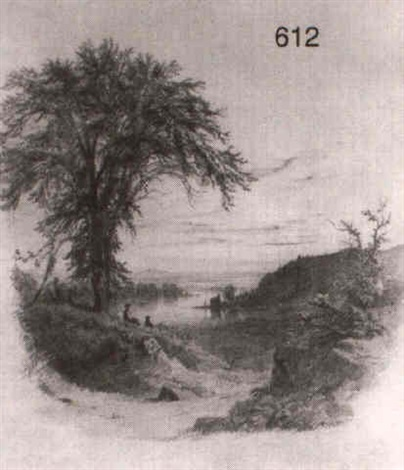 elm along a river bank by richard william hubbard