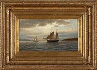 fischerboot vor der küste by richard fresenius