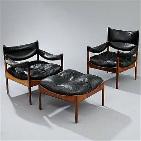 modus easy chairs and stool set of 3 by kristian solmer vedel