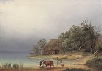 idyllische seelandschaft mit kühen an der tränke und reetgedecktem bauernhaus mit nistenden störchen by rudolf alers