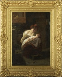 interior scene with a mother and child under the moonlight by carlo facchinetti