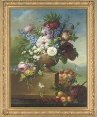 tulips, peonies, roses and other flowers in an urn, an extensive landscape beyond by thomas webster