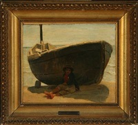 scenery from capri with a boy in the shadow of a boat by ernst meyer
