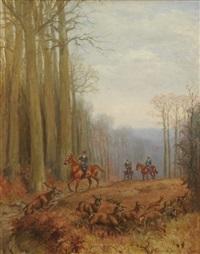 scène de chasse à courre by karl andré jean (baron) reille