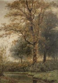 paysage aquatique aux arbres by theodor verstraete