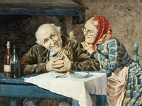 elderly couple seated at a table with a bottle of chianti by l. da costa