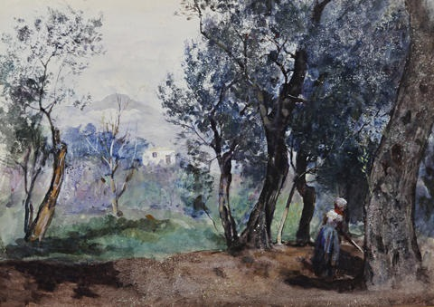 maid working in woodland on a hillside italy by frederick william jackson
