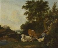ruhender hirte mit kühen und schaf in flusslandschaft by anthonie van borssom