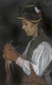 bildnis einer strickenden lötschentalerin in tracht by karl anneler
