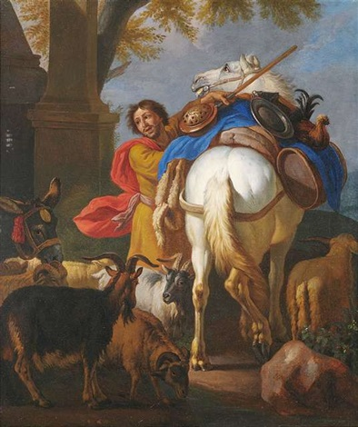 ein reisender mit seinem pferd ziegen und esel by pieter van bloemen