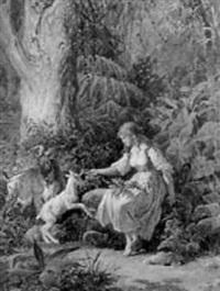 pige, der leger med et gedekid by tito agujari