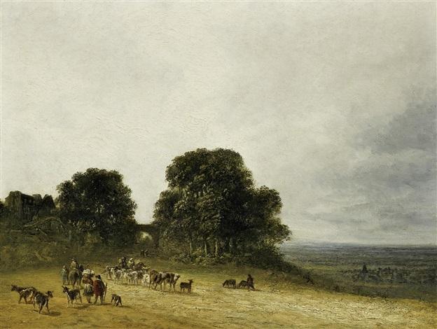 landschaft mit bauern und vieh bei saint denis landschaft mit hirten by georges michel