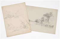 sketches of the saco river (3 works) by benjamin champney
