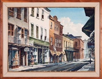 antique shop in the french quarter, view down royal st. by rolland harve golden