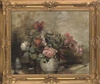 red, white and pink roses in a vase, on a stone ledge by alice mary burton