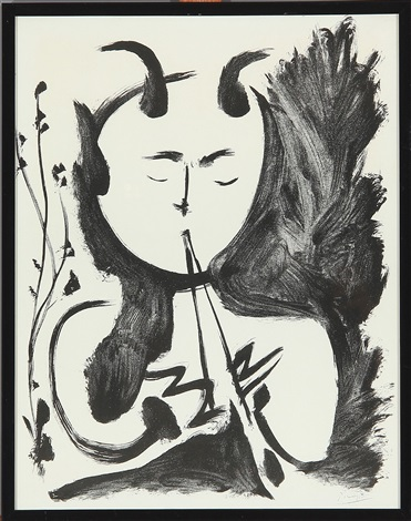 flute playing faun by pablo picasso