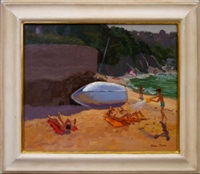 beach scene with figures by andrew macara