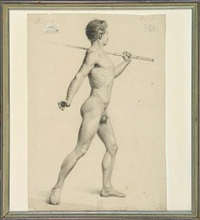 naked man (study, 2 works) by adolph h.j. jacobsen