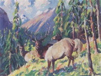 elk on a mountainside by h. boylston dummer