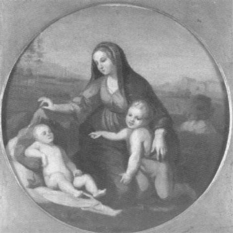 maria mit jesus und dem kleinen johannes vor einer südlichen landschaft by peter von cornelius