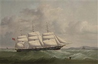 the british peer outward bound, possibly on her maiden voyage, off the south stack lighthouse by joseph semple