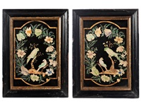 zwei fantasievögel auf einem ast, umzogen von blüten und blättern (pair) by marco barzelli