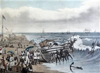 Madras, landing and embarking (from the..., 1856