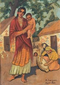 frau mit kind in einem belebten kroatischen dorf by marcel amiguet