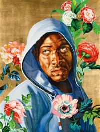 head of a young girl veiled and crowned with flowers (from the icon series) by kehinde wiley