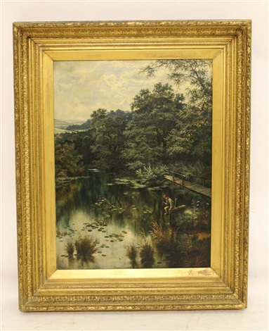 riverscene with boy fishing in the foreground by henry j livens