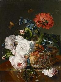 zwei gemälde mit blumenstillleben (2 works) by joseph fischer