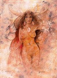 salome. stehender weiblicher akt mit stierhörnern by gernot rasenberger