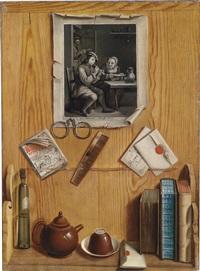 trompe-l'oeil einer hölzernen pinnwand mit einem regal by j.g. linneman